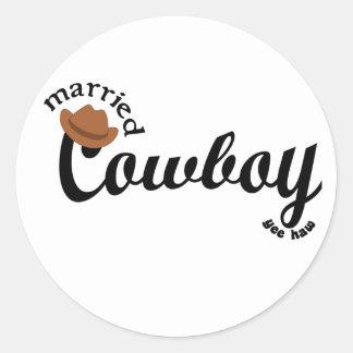 married cowboy yeehaw classic round sticker