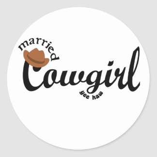 married cowgirl yeehaw classic round sticker