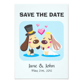 Married Dog Couple 5x7 Paper Invitation Card