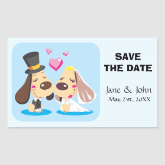 Married Dog Couple Rectangular Sticker