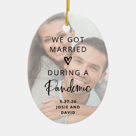 Married During a Pandemic | Two Photo Keepsake Ceramic Ornament