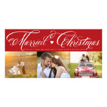 Married First Christmas Holiday Photo Collage Card