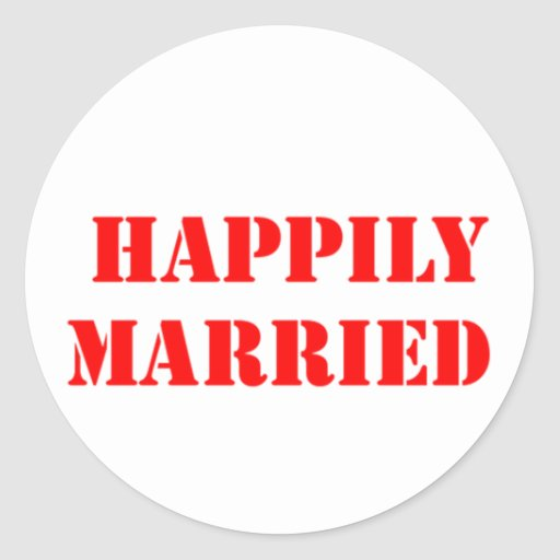 married funny classic round sticker