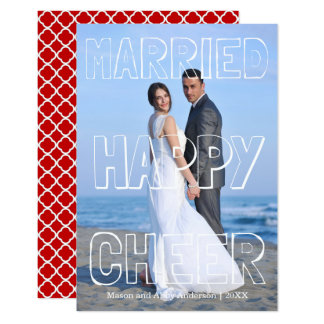 Married Happy Cheer White Block-3x5 Christmas Card