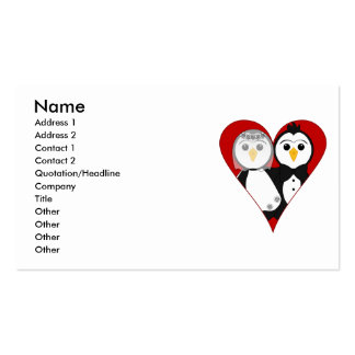 Married Heart Penguins Business Card Template