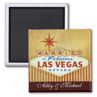 Married in Fabulous LAS VEGAS 2 Inch Square Magnet