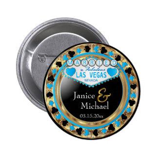 Married in Fabulous Las Vegas   Blue Pinback Button