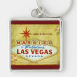 Married in Fabulous Las Vegas - Vintage Silver-Colored Square Keychain