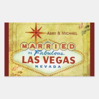 Married in Fabulous Las Vegas - Vintage Rectangular Sticker