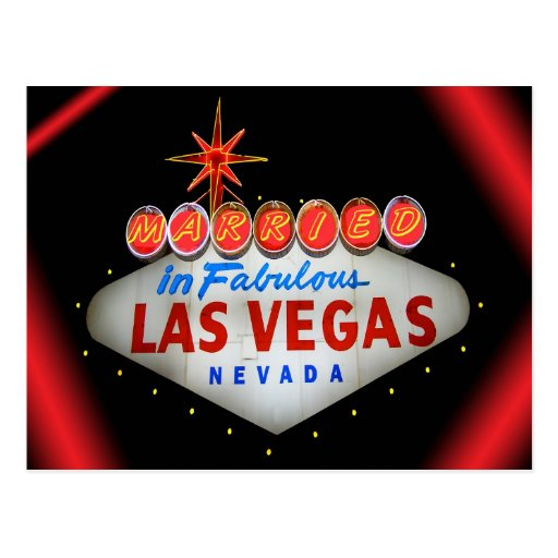 Married in Fabulous Las Vegas Wedding Announcement Post Cards