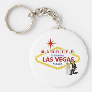 MARRIED In Fabulous Las Vegas with Bride & Groom K Keychain