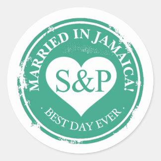 Married in Jamaica Beach Wedding Heart Monogram Classic Round Sticker