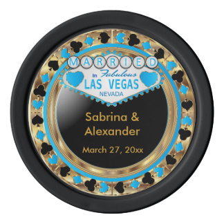 Married in Las Vegas | Blue Poker Chip Set