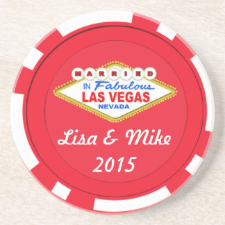 Married In Las Vegas Chip Coaster-Editable Text