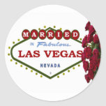 MARRIED In Las Vegas Red Roses Sticker