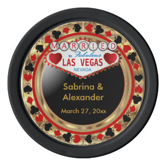Married in Las Vegas Set Of Poker Chips