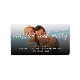 Married & Merry 1st Christmas Holiday Photo Labels