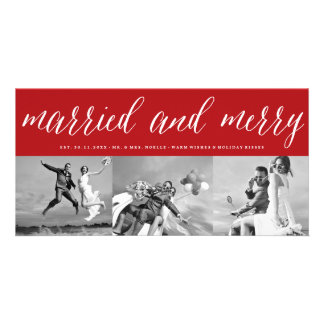 Married & Merry 1st Christmas Photo Collage Card