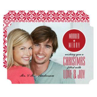 Married & Merry. Christmas Custom Photo Cards