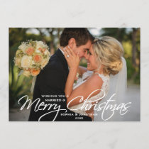 Married & Merry Christmas Hand Lettered Photo Holiday Card