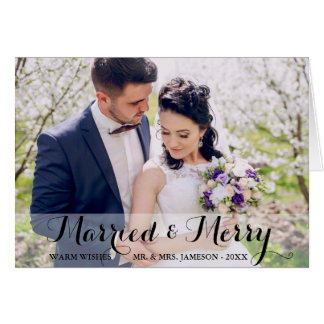 Married & Merry Couple Photo Greeting Card WB