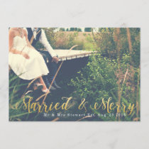 Married & Merry | First Christmas Photo Holiday Card