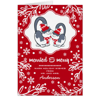 Married & Merry. Funny Kittens Christmas Cards