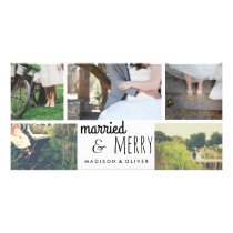 Married & Merry Holiday Wedding Five Photo Collage Card