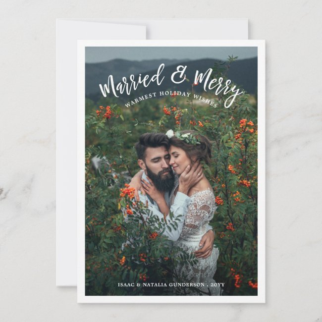 Married & Merry Modern Chistmas Photo White Holiday Card