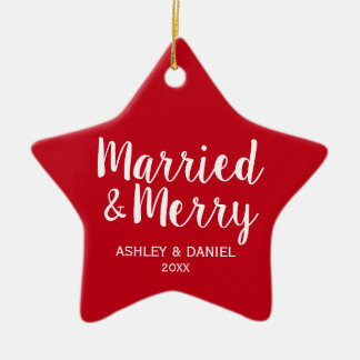 Married & Merry Newlywed Christmas Red Star Ceramic Ornament