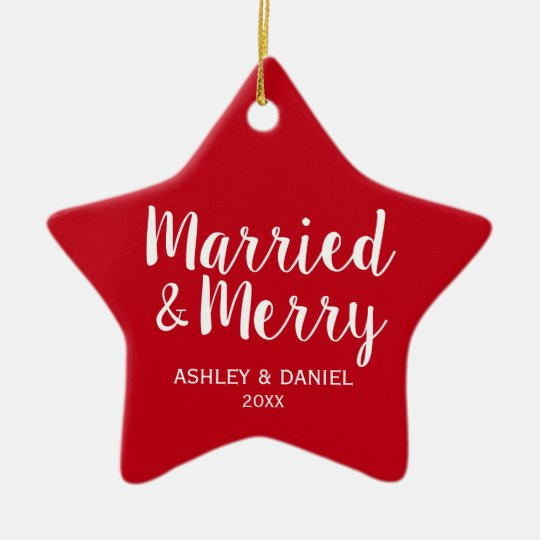 married merry newlywed christmas red star ceramic ornament