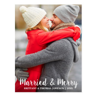 Married & Merry Newlywed Photo Postcard