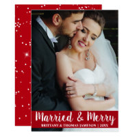 Married & Merry Newlywed Wedding Photo Card R S