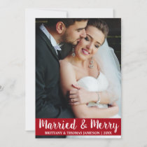 Married & Merry Newlywed Wedding Photo Card R S