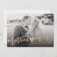Married & Merry Photo Holiday Wedding Announcement