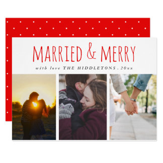 Married & Merry Red Script Three Photo Holiday Card