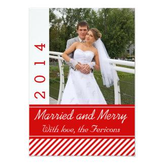 Married & Merry red, white stripes Christmas photo Custom Invite