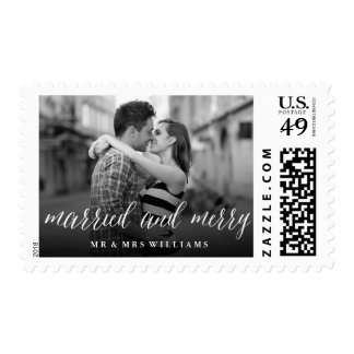 Married & Merry Simple Script Holiday Photo Stamp