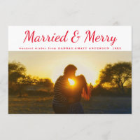 Married & Merry Typography Red Polka Dots Photo Holiday Card