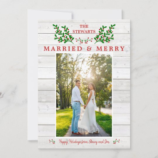 married & merry wedding merry christmas photo holiday card