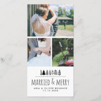 Married & Merry Whimsical Christmas Tree | Three Holiday Card