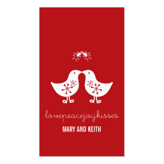 Married Mistletoe Kissing Chicks Holiday Gift Tag Business Cards