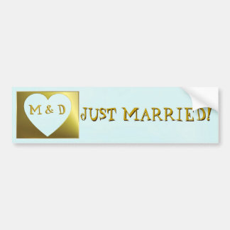 Married Monogram Mint Green/Gold Bumper Sticker