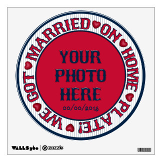 Married on Home Plate-Round Wall Decal 01