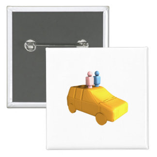 Married Peg People in a Car Pinback Button