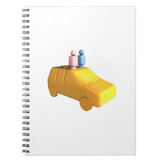 Married Peg People in a Car Spiral Note Book