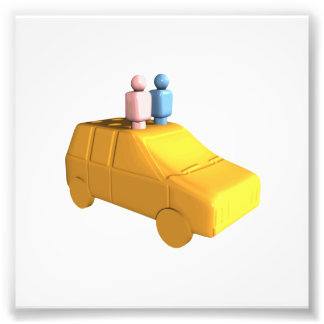 Married Peg People in a Car Photo Print