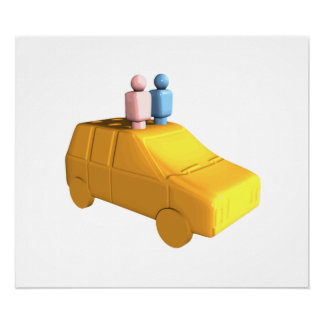 Married Peg People in a Car Print