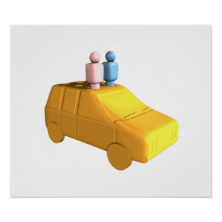 Married Peg People in a Car Poster