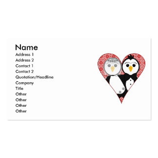 Married Penguin Lace Heart Business Card